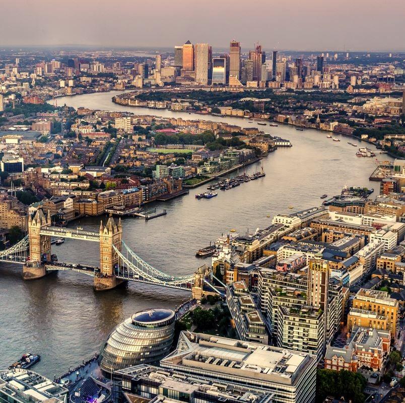 London River Thames aerial shot