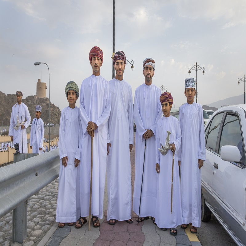Omani men in tradtional outfits