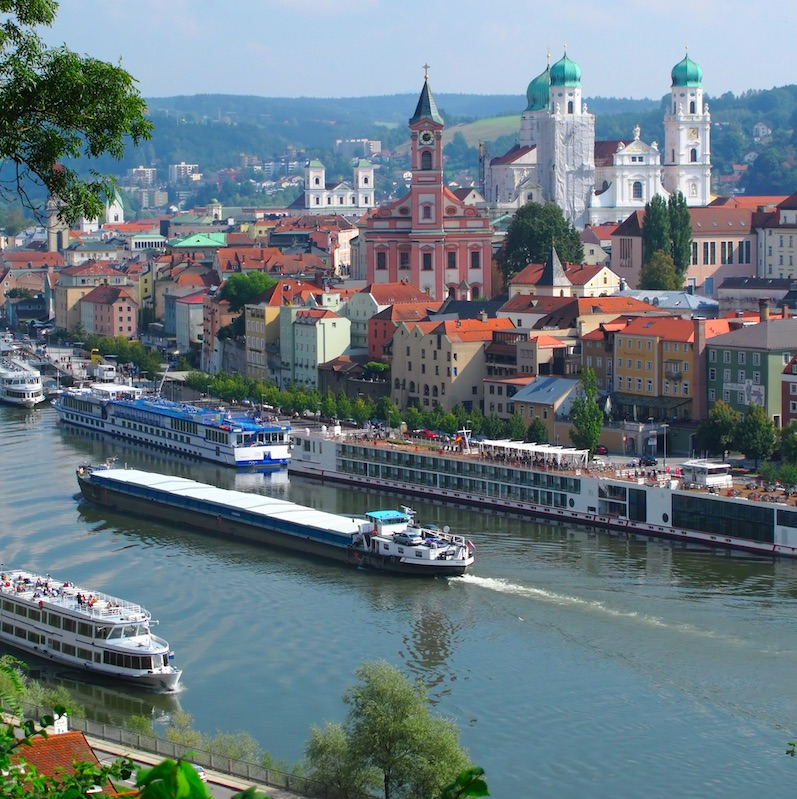 river cruise boat in Passau, Germany.