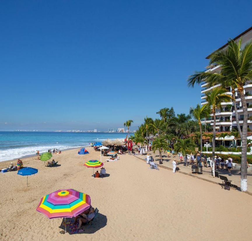 Puerto Vallarta Beach with tourists