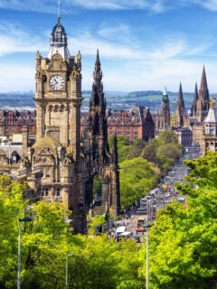 View from the Calton Hill on Princes Street in Edinburgh, Scotland, UK
