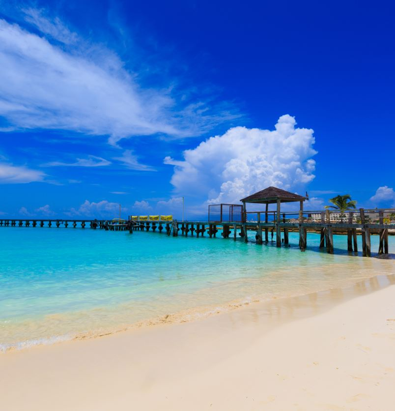White Sand Beach with aqua blue water
