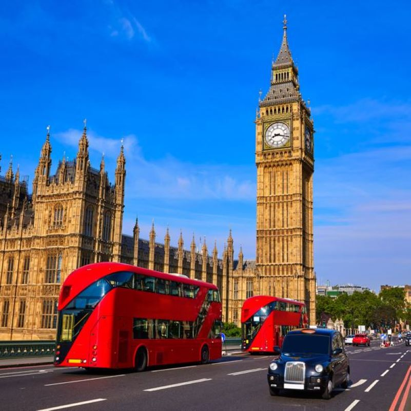 big ben red bus london taxi cab