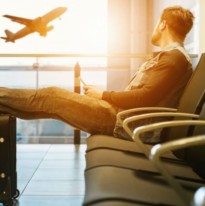 man airport relaxing flight