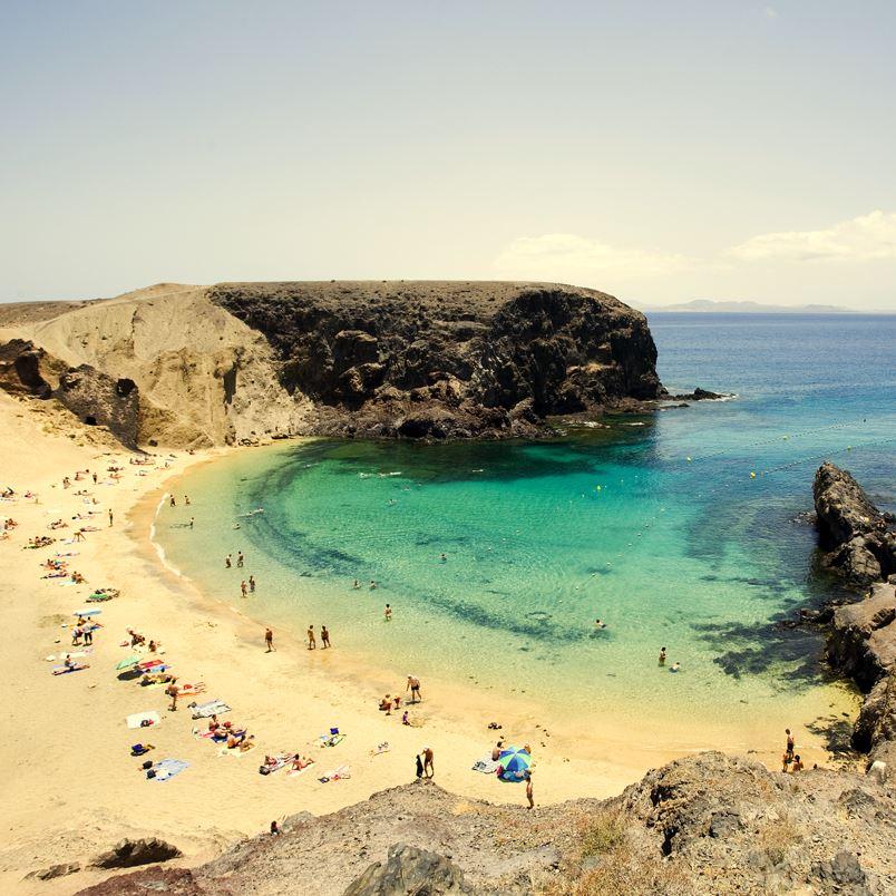 Papagayo beach, Lanzarote, sea and sand and cliffs