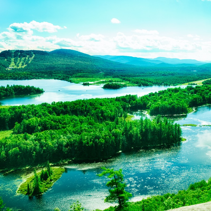 Canadian Lakes and mountains landscape shot in the Laurentians mountain range in southern Quebec near Saint-Donat.