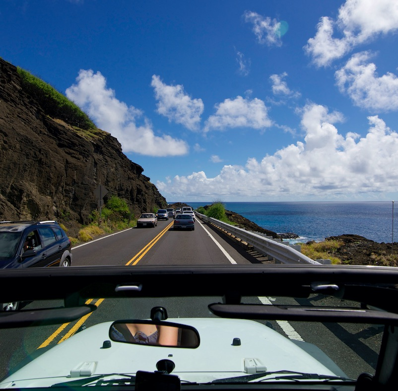 cars on a highway in Hawaii