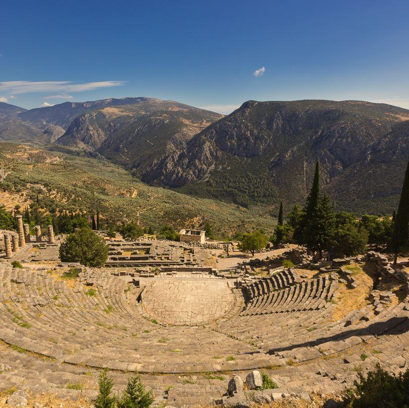 Delphi, Greece amphitheatre and mountains