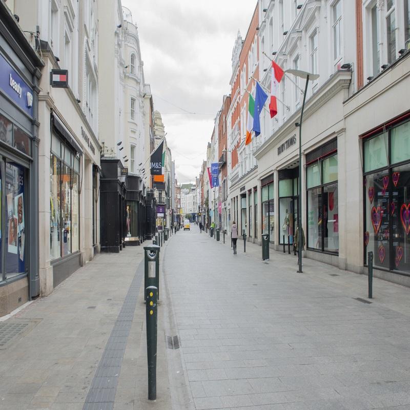 Empty city streets during Covid 19, Dublin, Ireland