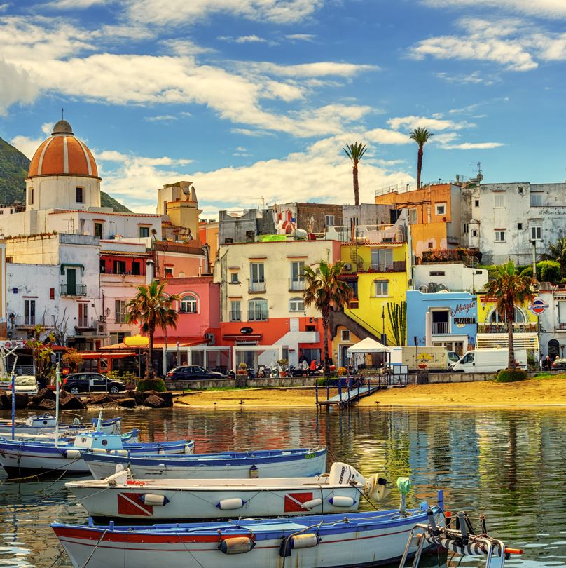 Ischia harbour and boats