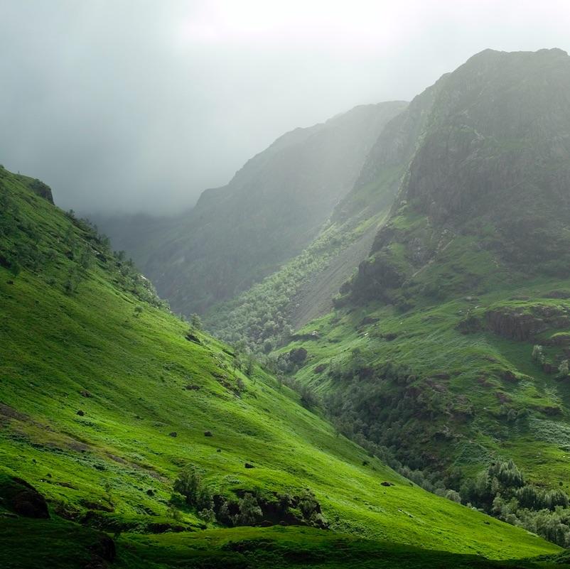 The Glencoe pass on a misty day site of the historic massacre.