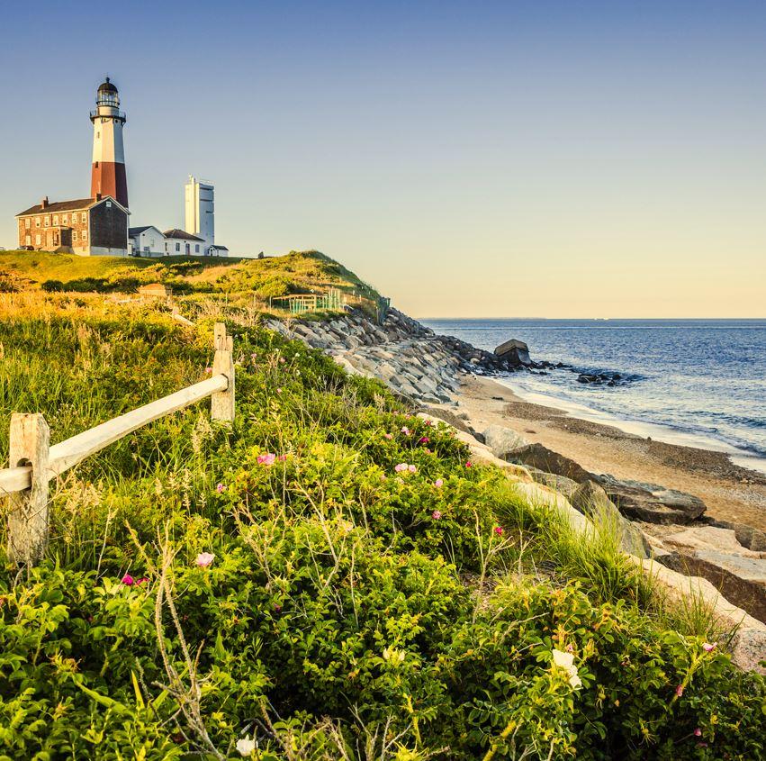 Long Island beach and lighthouse