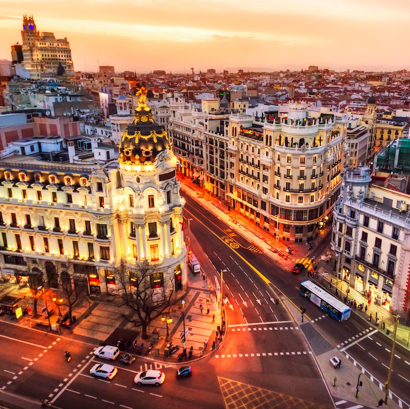 Aerial view and skyline of Madrid at dusk