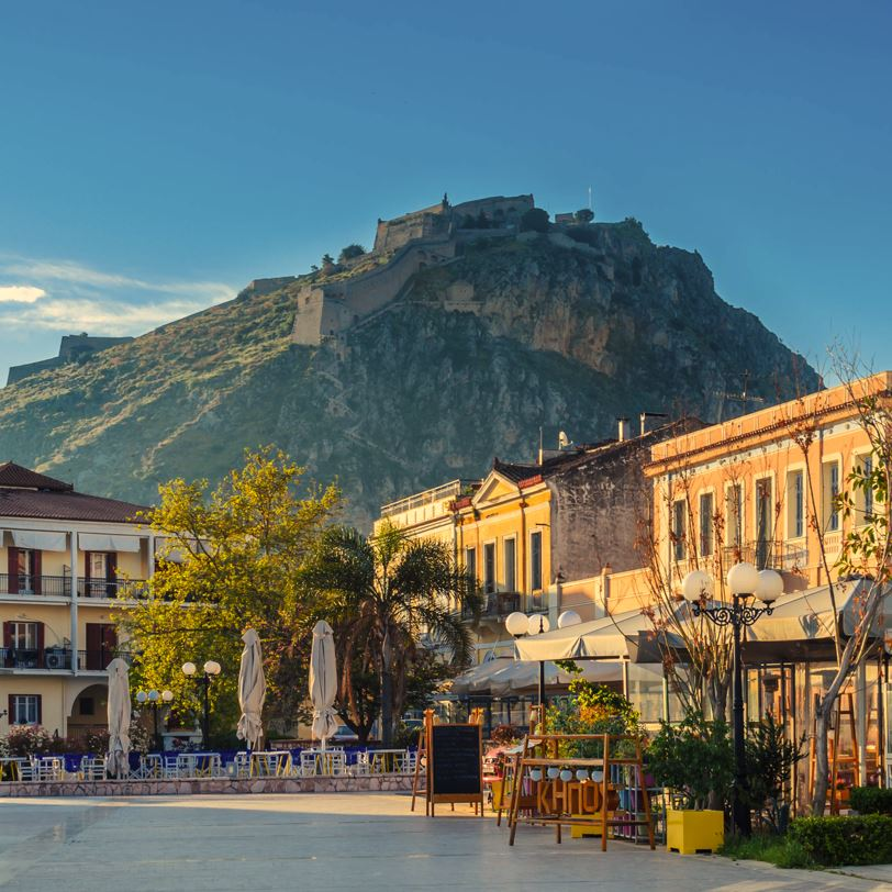 Nafplio, Greece town square and fortress
