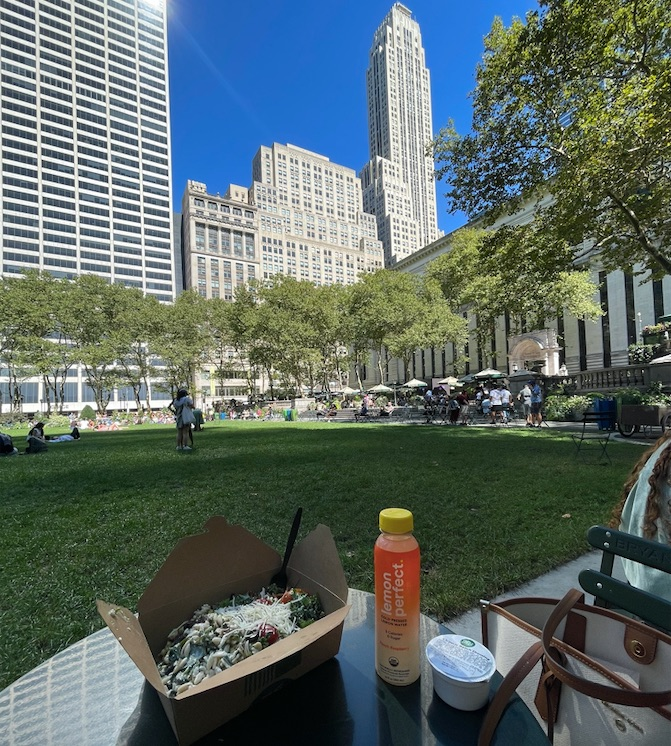 Picnic lunch from WHole Foods at Bryant Park