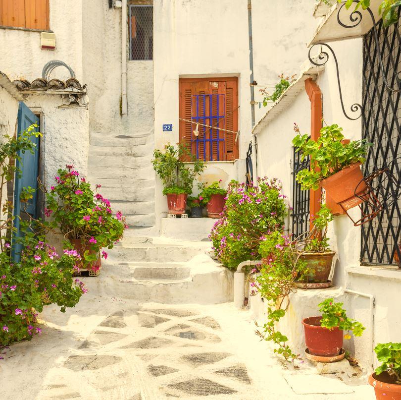 Pretty street in Plaka Athens