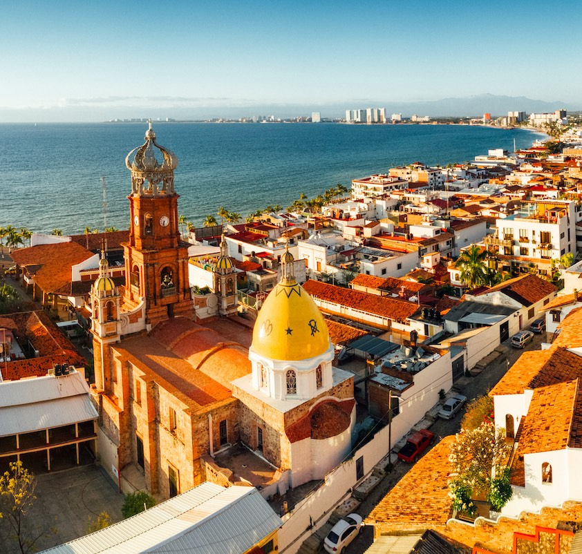 aerial view of downtown and ocean in Puerto Vallarta, Mexico