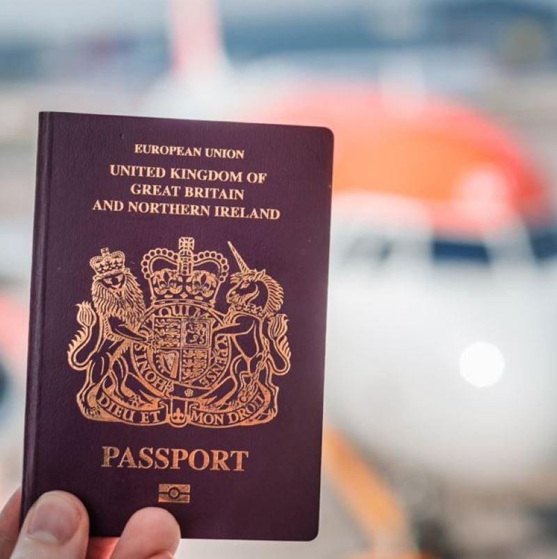 british passport airplane flight