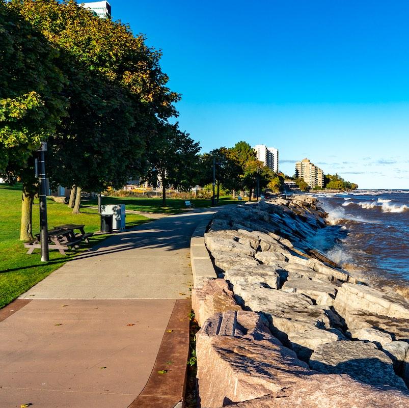 Spencer Smith Park and Brant Street Pier at the lakeside of Lake Ontario, Burlington, Ontario, Canada