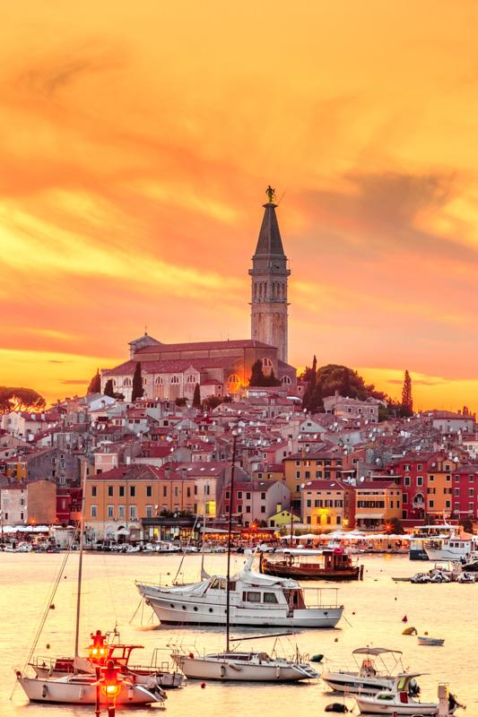 Beautiful sunset over city of Rovinj, Istria, Croatia