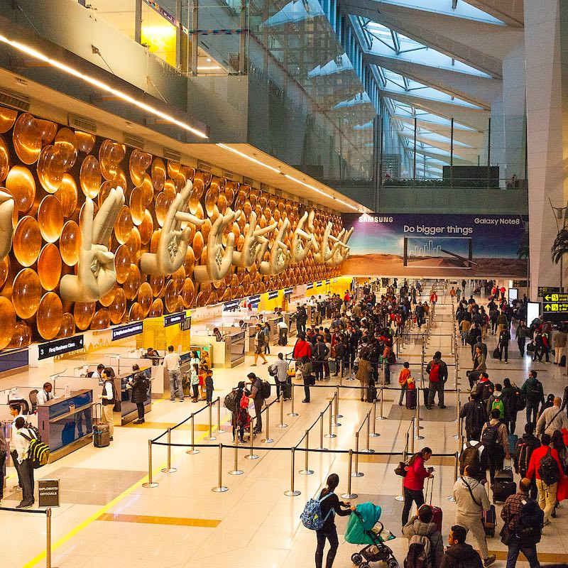 December 2017: New Delhi, India- View at the arrival hall in Indira Gandhi International Airport in New Delhi, India