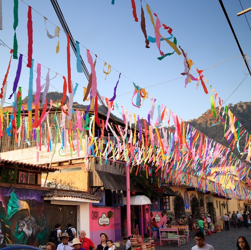 TEPOZTLAN, MEXICO - FEB, 22, 2017: During the festivities of Tepoztlan, streets are decorated with colorful paper. (TEPOZTLAN, MEXICO - FEB, 22, 2017: During the festivities of Tepoztlan, streets are decorated with colorful paper.