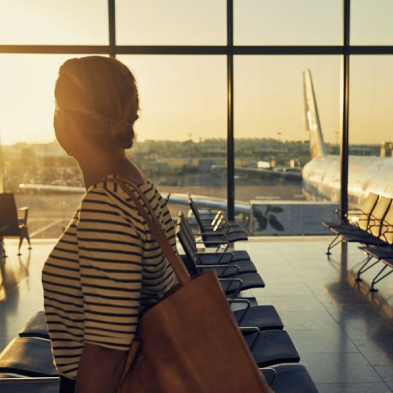 female traveler airport