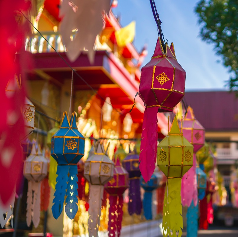 Yee peng festival at Wat Phra Singh temple in Chiang mai, Thailand