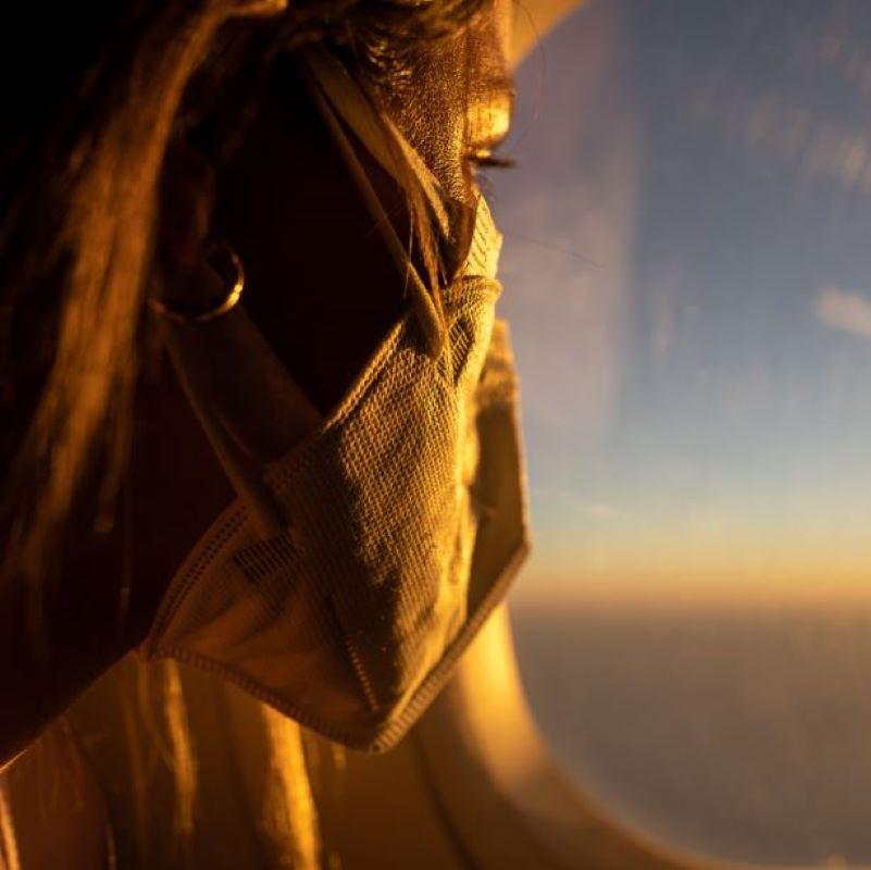 mask sunset flight