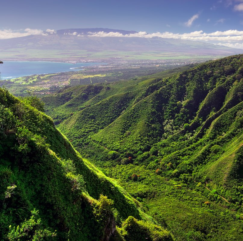 aerial view of a mountain in Maui, Hawaii