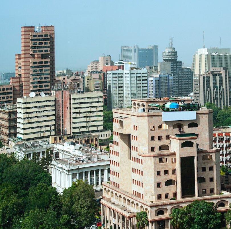 Panoramic aerial day light, blue skyline view of central New Delhi near central park Connaught please, New Delhi