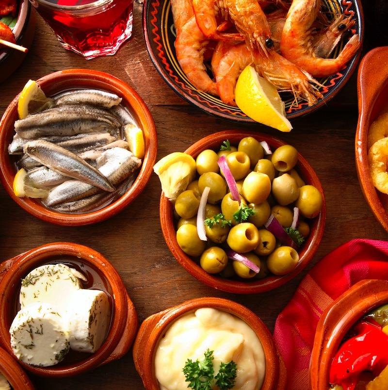 table of Spanish tapas