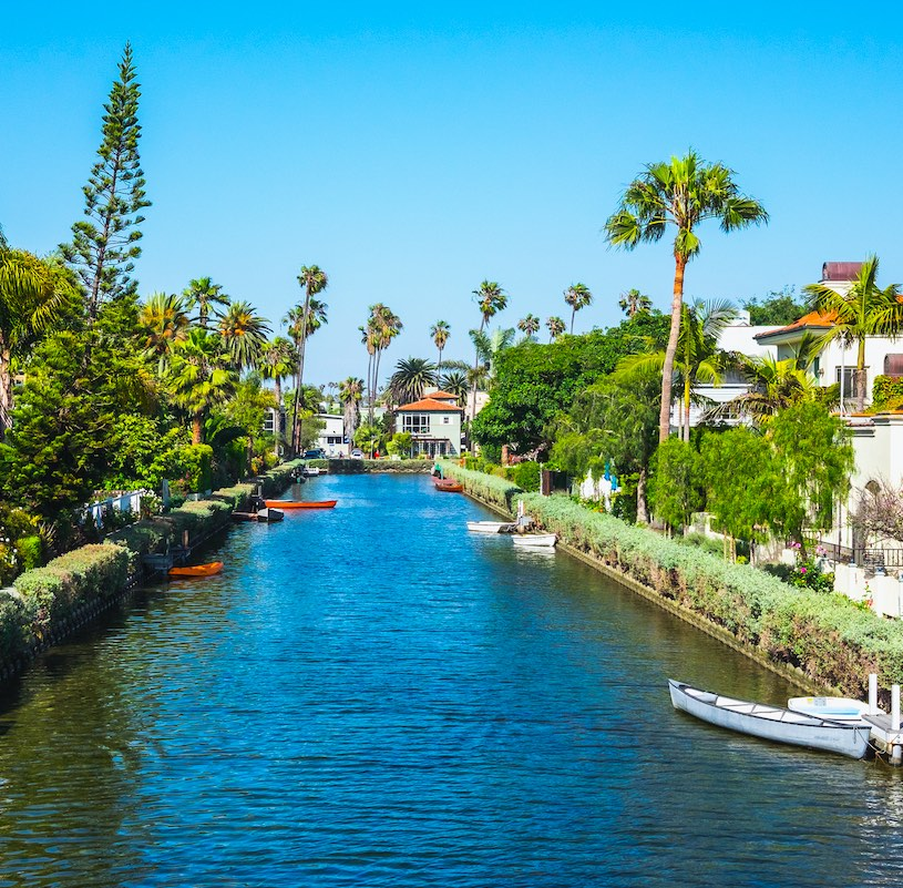 Street in the Venice Canals neighborhood on a sunny day in Los Angeles