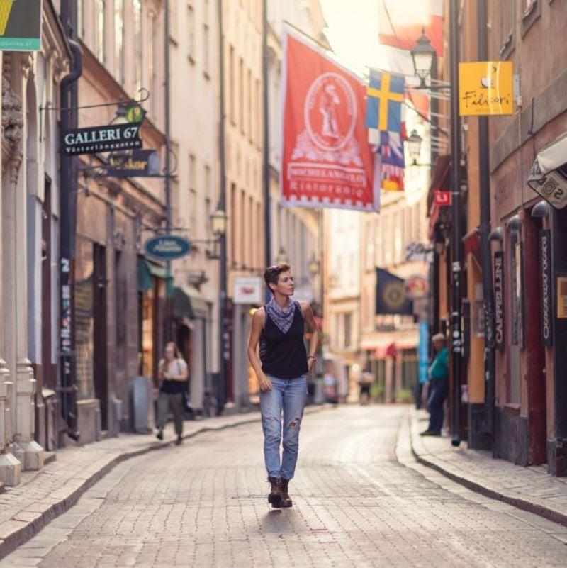woman walking stockholm