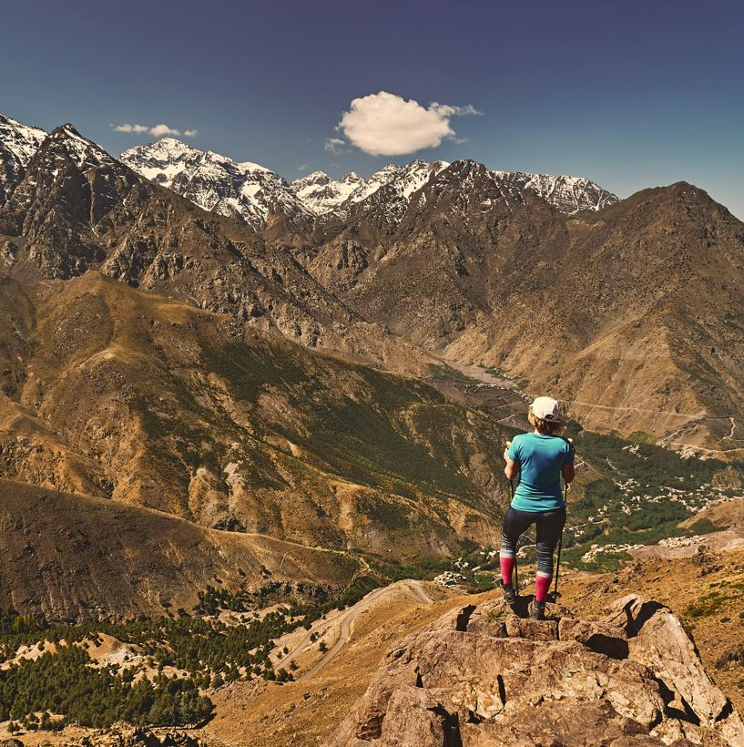 Mount Toubkal, Morocco and hiker