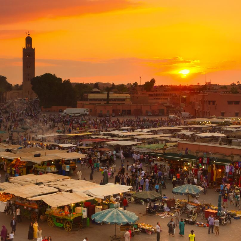 Marrakech main square at sunset