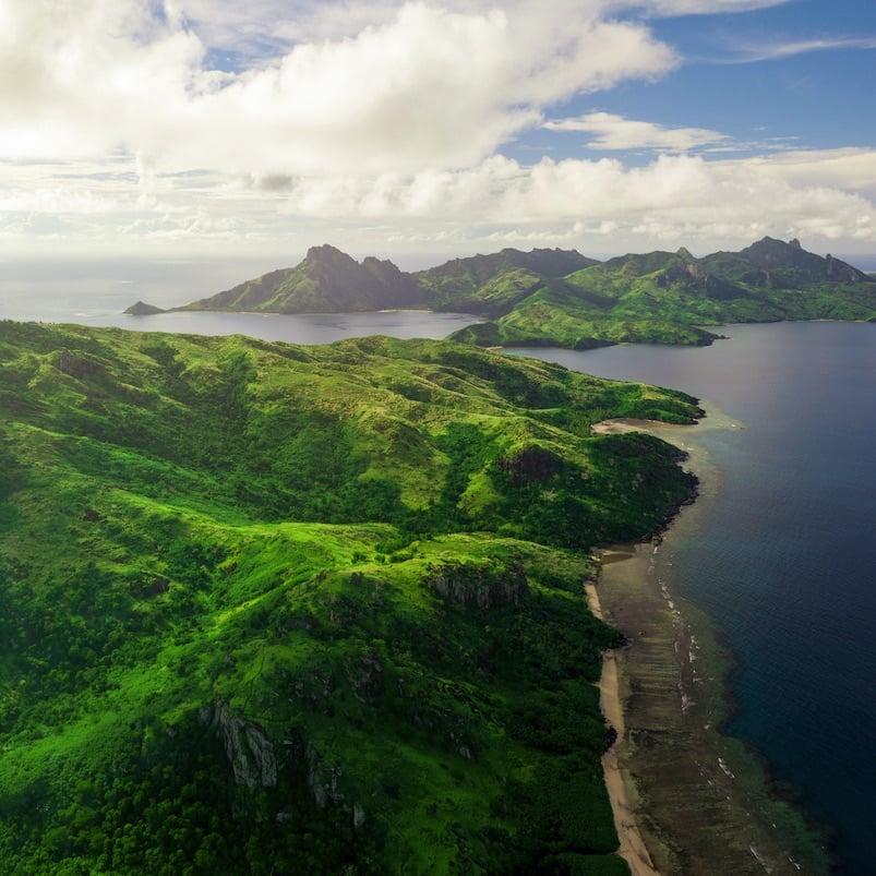 Aerial shot of Fiji islands