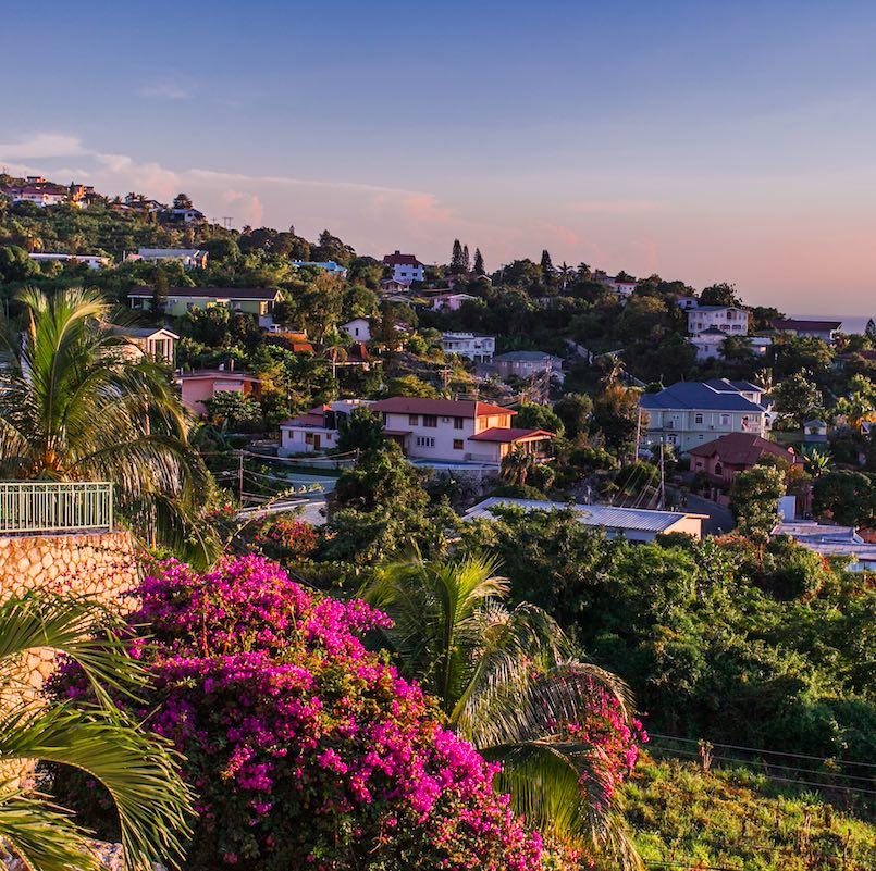 sunset over the capital city of kington, jamaica