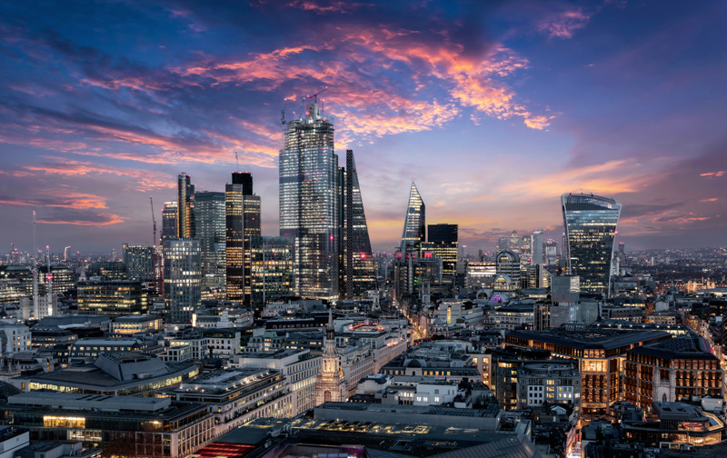 The City of London, financial district of the Metropole