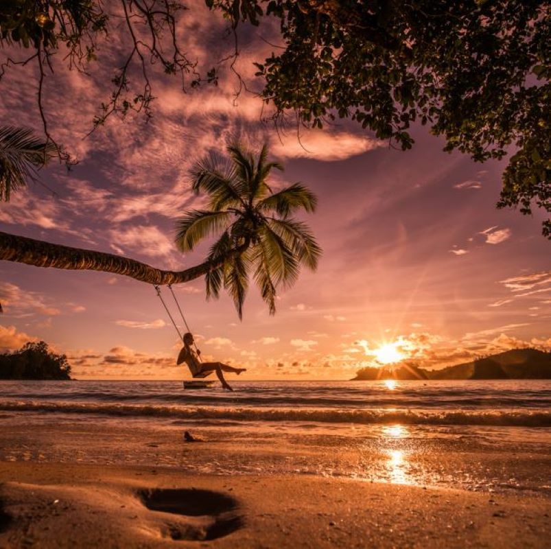 swing beach hawaii sunset