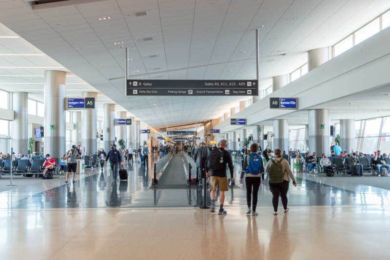 arrival and departure gate area in the new Salt Lake City Airport.