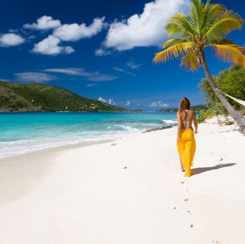 woman beach caribbean